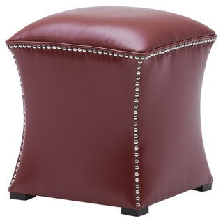 Sunpan Bellaire Red Bonded Leather Nail Head Accent Ottoman