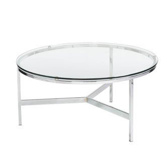 Sunpan Flato Polished Steel Round Coffee Table