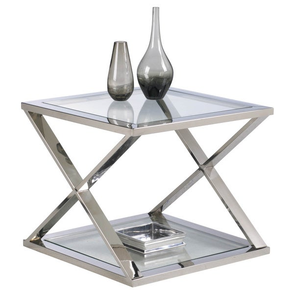 Sunpan Gotham Polished Steel End Table