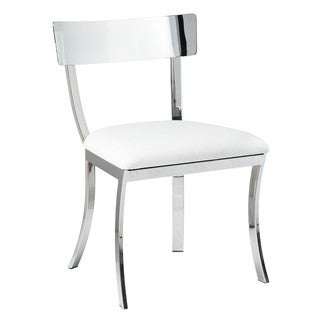 Sunpan Maiden White Stainless Steel Dining Chair (Set of 2)