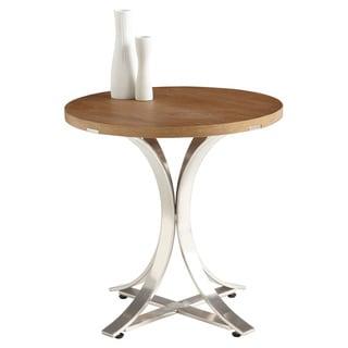 Sunpan Temple Round Oak/ Steel End Table