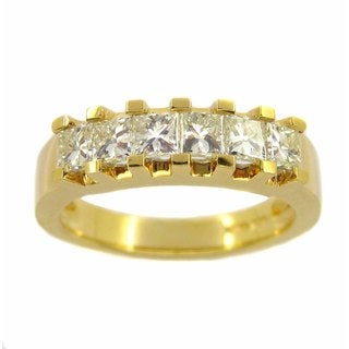 Kabella Luxe 18k Yellow Gold 1 1/5ct TDW Princess-cut White Diamond Band Ring (H-I, VS1-VS2)