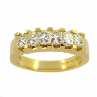 Kabella Luxe 18k Yellow Gold 1 1/5ct TDW Princess-cut Diamond Ring (H-I, VS1-VS2)