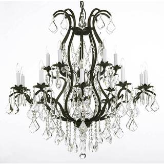 Versailles Wrought Iron and Crystal 15-light Chandelier