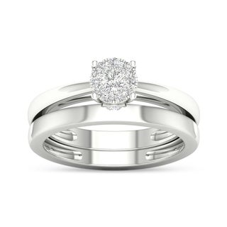 De Couer 10k White Gold 1/4ct TDW Multi Stone Solitaire Diamond Bridal Ring Set (H-I, I1-I2)