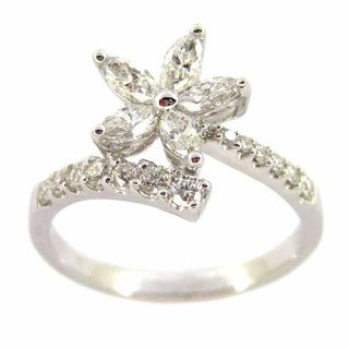 Kabella Luxe 18k White Gold 3/4ct TDW Marquise Round Diamond Flower Ring (G-H, VS1-VS2)