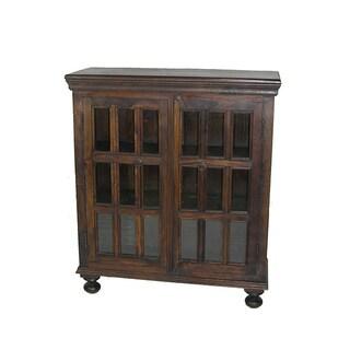 Michigan Kiln-dried Acacia Wood and Glass Storage Cabinet