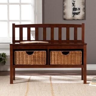 Upton Home Espresso Bench w/ Storage Baskets