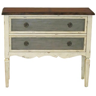 Hand Painted Distressed Vintage Cream Accent Chest