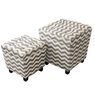 Alana Square Chevron Fabric Storage Ottoman