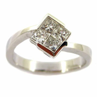 Kabella Luxe 18k White Gold 5/8ct TDW Diamond Square Ring (G-H, VS1-VS2)