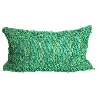 Emerald Green Crazy Loops Down-filled Throw Pillow