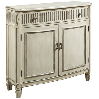 Hand Painted Distressed Antique Ivory Finish Accent Chest