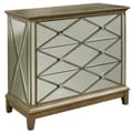 Hand Painted Distressed Mirrored Accent Chest