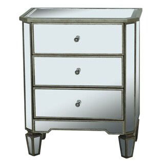 Hand Painted Distressed Silver Leaf Mirrored Accent Chest