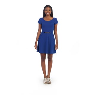 Hadari Women's Royal Blue Scoop Neck Dress