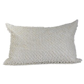 Pure White Crazy Loops Feather-filled Throw Pillow