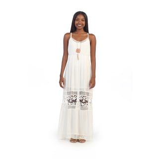 Hadari Women's White Crochet Maxi Dress