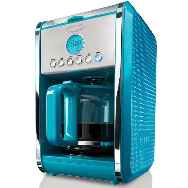 Bella Diamonds Coffee Maker Red : Bella Dots Teal 12-cup Programmable Coffee Maker