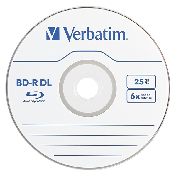 Verbatim BD-R DL 50GB 6X with Branded Surface - 25pk Spindle 13334264