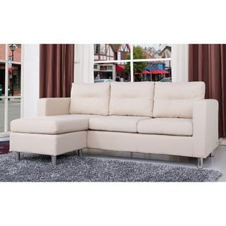 Detroit Beige Convertible Sectional Sofa and Ottoman