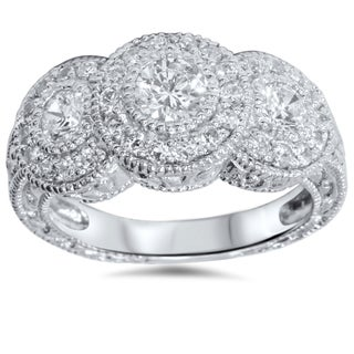 Bliss 14k White Gold 1 1/2ct TDW Vintage Diamond 3-stone Engagement Ring (G-H, I1-I2)