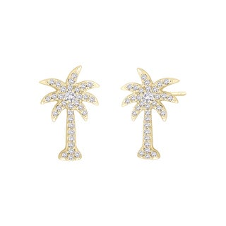 10k Yellow Gold 1/3ct TDW Diamond Palm Tree Earrings (G-H, I2-I3)