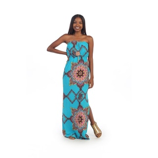 Hadari Women's Strapless Torquoise Paisley Maxi Dress