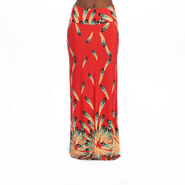 Hadari Women's Red Feather Print Maxi Skirt