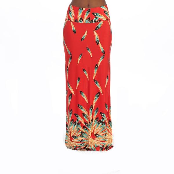 Hadari Women's Red Feather Print Maxi Skirt