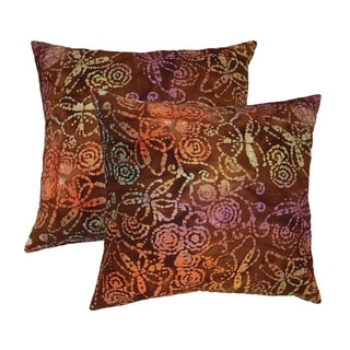 Cotton Batik Brick 20-inch Throw Pillows (Set of 2)