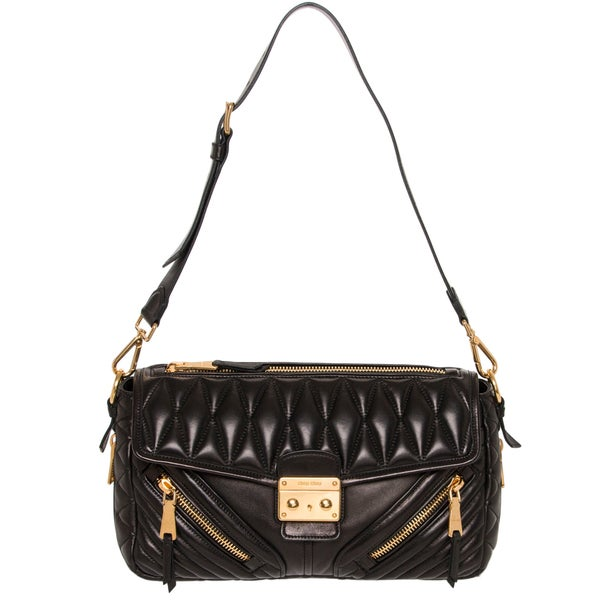 Miu Miu Matelasse Biker Black Quilted Leather Shoulder Bag