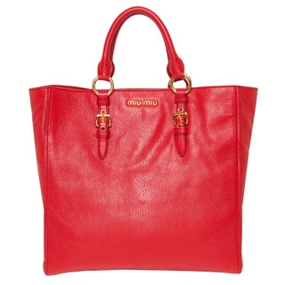 Miu Miu 'Madras' Red Leather Tote