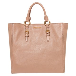 Miu Miu 'Madras' Tan Leather Tote