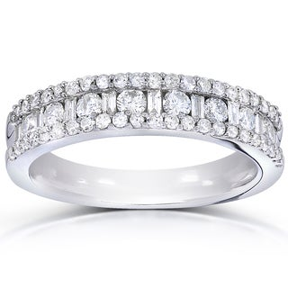 Annello 14k White Gold 3/4ct TDW Round and Baguette Diamond Wedding Band (H-I, I1-I2)