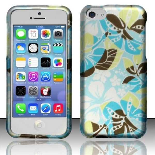 INSTEN Pattern Design Rubberized Hard Plastic Phone Case Cover for Apple iPhone 5C