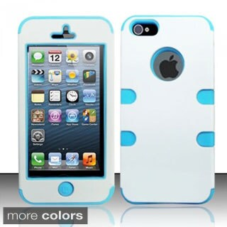 INSTEN Home Button PC Soft Silicone Dual Hybrid Phone Case Cover for Apple iPhone 5/ 5S