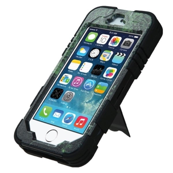 INSTEN Stand Cyborg PC Soft Silicone Dual Hybrid Phone Case Cover for Apple iPhone 5/ 5S