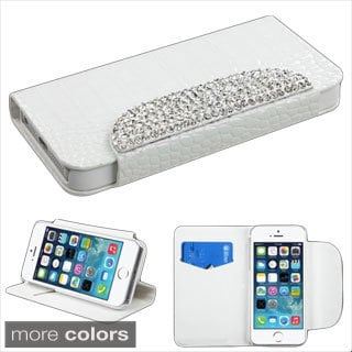 BasAcc Crocodile Skin Diamante Stand Wallet Leather Case for Apple iPhone 5/ 5S
