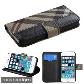 INSTEN Magnetic Flap Wallet PU Leather Phone Case Cover for Apple iPhone 5/ 5S
