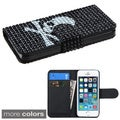 INSTEN Black Wallet Diamonds Book-Style Flip Leather Phone Case Cover for Apple iPhone 5/ 5S
