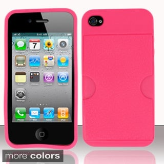 BasAcc With Card Slot PC TPU Rubber Gel Case Cover for Apple iPhone 4/ 4S