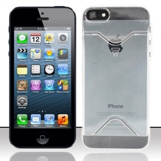 BasAcc With Card Slot Clear Transparent Hard Case Cover for Apple iPhone 5/ 5S