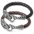 Crucible Stainless Steel Men's Black Woven Leather Dragon Bracelet