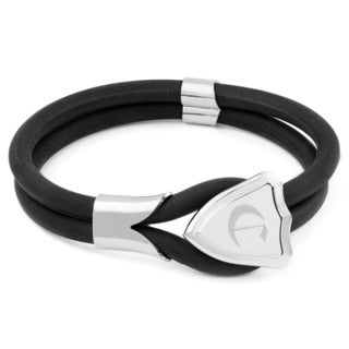 Crucible Stainless Steel Men's Black Rubber Cord Bracelet