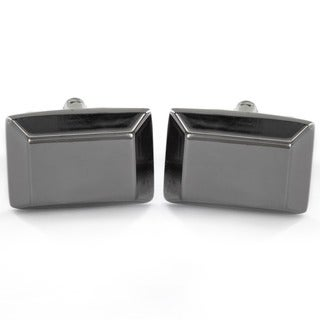Men's Stainless Steel Rhodium-plated Rectangle Bar Design Cuff Links