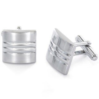 Stainless Steel Men's Brushed Rectangular Cuff Links