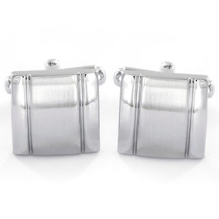 Men's Brushed Stainless Steel Square Cuff Links