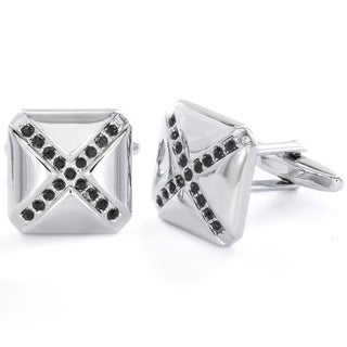 Stainless Steel Men's Black Cubic Zirconia Cuff Links