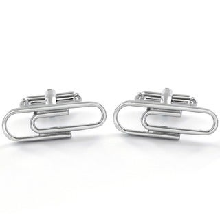High Polish Stainless Steel Men's Paperclip Cuff Links